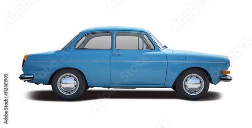 Classic sedan car side view isolated on white © Konstantinos Moraiti