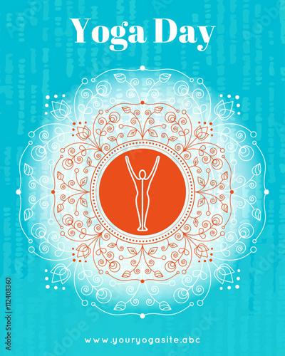 Vector Yoga Illustration Template Of Poster For International Yoga Day Flyer For 21 June Yoga Day Yogi Does Yoga Exercises On Ethnic Pattern Backdrop Linear Design Trendy Yoga Poster Banner Buy