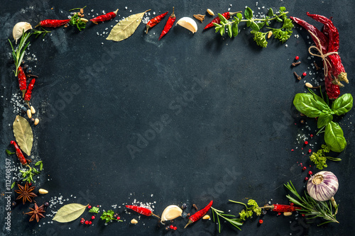 Canvas Prints Spices Herbs and spices over black stone background