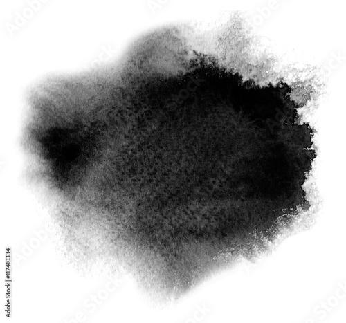 Cuadros en Lienzo Black watercolor stain with blotch and brush stroke