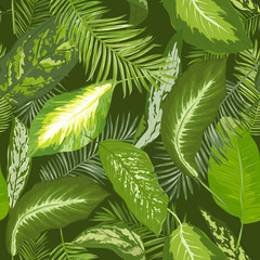 Panel Szklany Natura Seamless Pattern. Tropical Palm Leaves Background. Vector Design