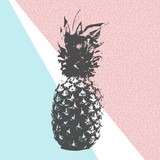 Retro summer pineapple design with 80s shapes - 112414185