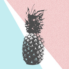 Panel Szklany Owoce Retro summer pineapple design with 80s shapes