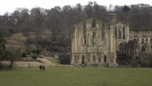 Rievaulx Abbey Church Ruins England Rural Pan. Cistercian Abbey Helmsley In North York Moors National Park. Wealthiest Abbeys In England Dissolved By Henry VIII In 1538.