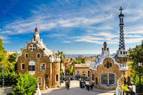 plakat Park Guell in Barcelona, Spain