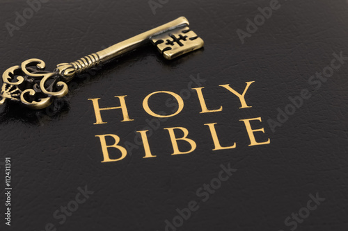 Fotobehang Stof Holy bible and vintage key on cover concept theology study