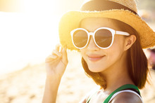 Beautiful Young Woman Enjoy Summer Vacation On The Beach