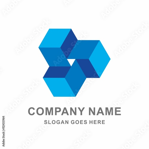 3d blue cube hexagon arrow vector logo template buy this stock