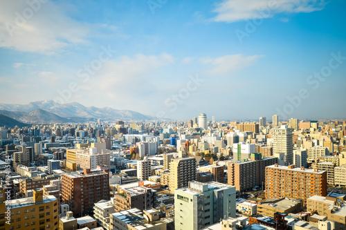 Printed kitchen splashbacks South Africa SAPPORO, JAPAN - December 22, 2015: Street view of Buildings aro