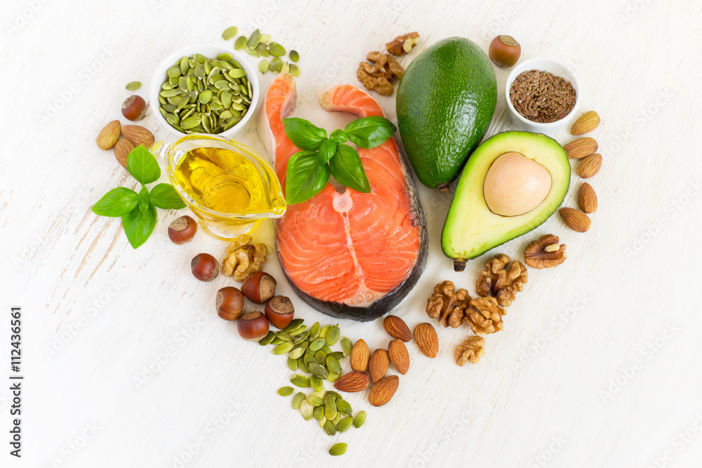 Fototapety, obrazy: set of food with healthyl fats and omega-3