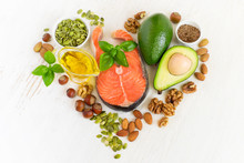 Set Of Food With Healthyl Fats And Omega-3