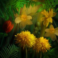 Fototapeta Kwiaty Watercolor Painting Flowers