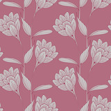 a vintage English style floral wallpaper seamless tiles with crocus-like flowers in old pink shades - 112440967