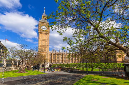 Big Ben at the Palace of Westminster, landmark of London, UK Canvas Print