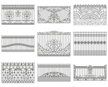 Forged Fences Set. Linear Design. Vector Outline Illustration Isolated On White.