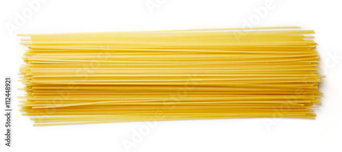Spaghetti pasta isolated on white, from above Canvas