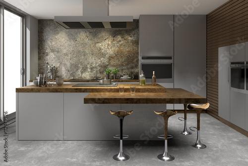 Küche edelstahl edelstahloptik naturstein Holz modern ...