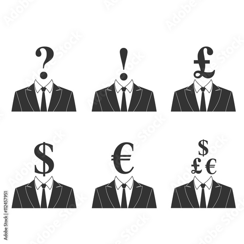 Dollar Head Euro Pound Representation Of Currencies Money Signs Finance Or Currency Exchange Vector Isolated Illustration