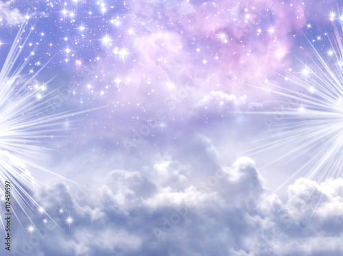 Canvastavla  a divine mystical magic sky with stars and rays of Light