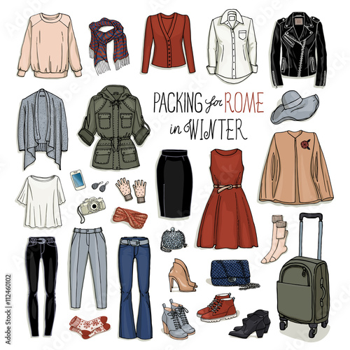 4c08f3716c41 Vector illustration of packing for Rome in winter. Sketch of clothes and  accessories for design