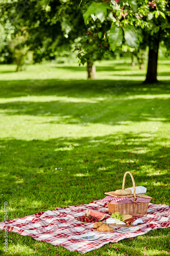 Keuken foto achterwand Picknick Enjoying a healthy outdoor spring picnic