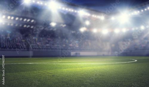 Plakat Stadion piłkarski w światłach