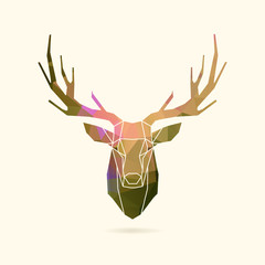deer frame portrait color poly