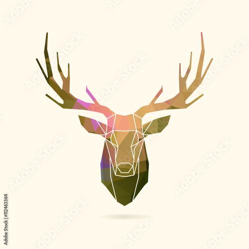 deer frame portrait color poly