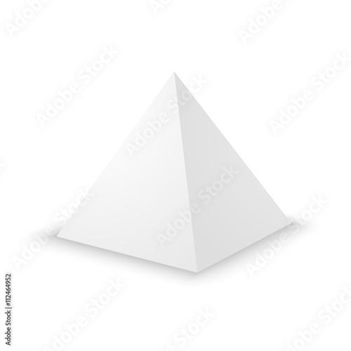 Stampa su Tela Blank white pyramid, 3d template.