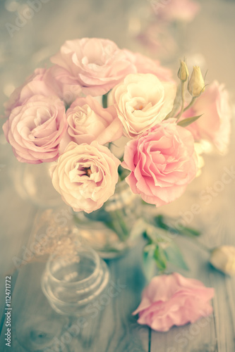 Vintage Bouquet of beautiful pink flowers - 112471772