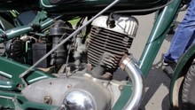 Old Motorcycle Engine/vintage Motorcycle Exhibition On The Engine And Wheels