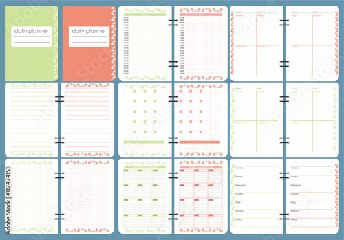 Cute Calendar Daily Planner Template Spring Season Holidays Backgrounds Organizer And Schedule With Place