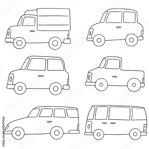 vector set of car