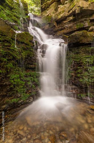 Aluminium Prints Forest river Waterfall Mosorny in Zawoja, Beskid Zywiecki mountain range in Polish Carpathian Mountains