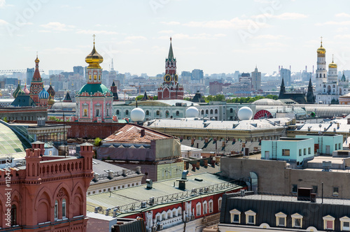 View to Downtown, Spassky tower, bell tower of Ivan the Great in Moscow. Russia - 112475922