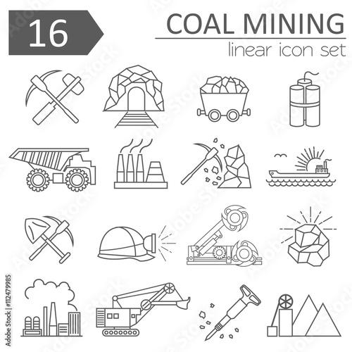 Obraz na płótnie Coal mining icon set. Thin line icon design