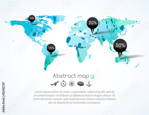 Vector blue triangle world map with tags, points and destinations
