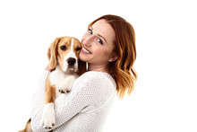 Cheerful Young Woman With Her Pretty Dog