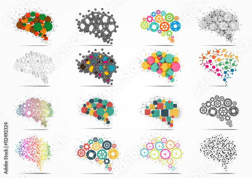 Photo Abstract set brain graphic