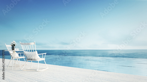 rocking chair - beach lounge - Sundeck on Sea view for vacation and summer / 3d render outdoor