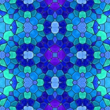 Blue Green Floral Stone Mosaic Kaleidoscope Seamless Pattern Backgound With Black Grout