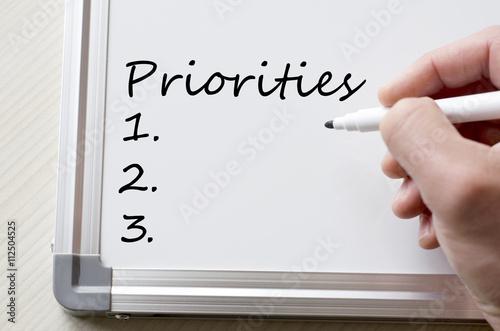 Fototapeta Priorities written on whiteboard obraz na płótnie