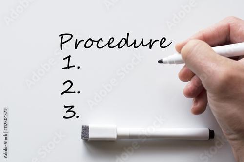 Fotografía  Procedure written on whiteboard