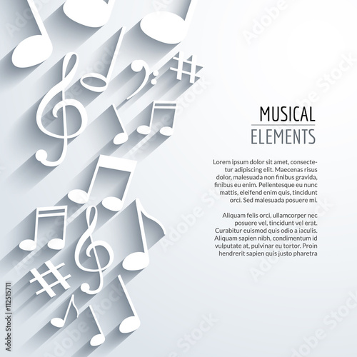Plakaty atrybuty muzyczne  vector-abstract-music-notes-with-shadows-on-white-isolated-background-musical-concept