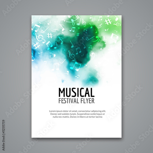 Fototapeta Colorful vector music festival concert template flyer. Musical flyer design poster with notes obraz