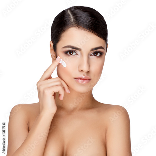 Young brunette woman with beautiful clean skin Poster
