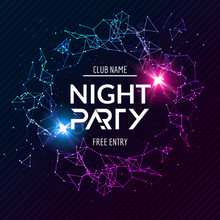 Night Party Poster. Shiny Bann...