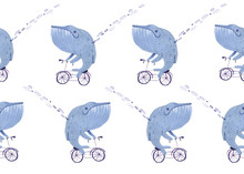 Watercolor Whale On A Bicycle., Pattern Illustration