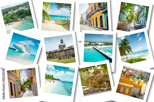 Cruise memories on polaroid photos - summer caribbean vacations