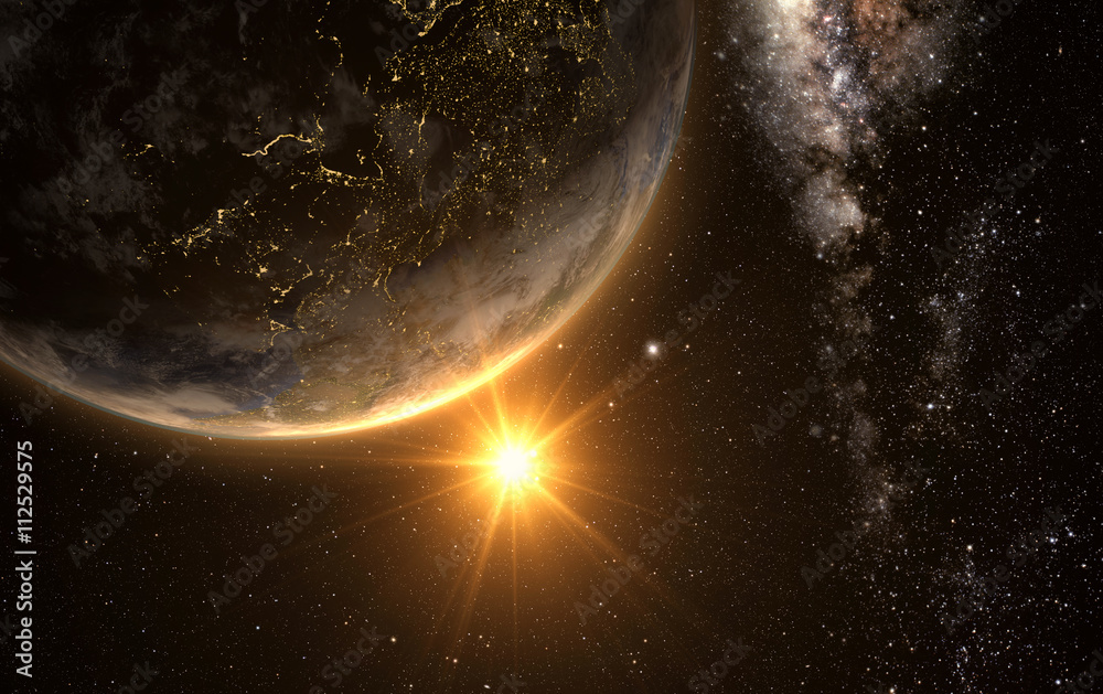 Fotografie, Obraz sunrise view of earth from space with milky way galaxy, 3d rendering